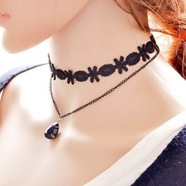 Ericdress Double Layers Water Drop Pendant Choker Necklace