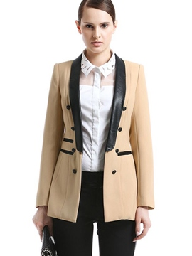 Ericdress Color Block Double-Breasted PU Patchwork Blazer