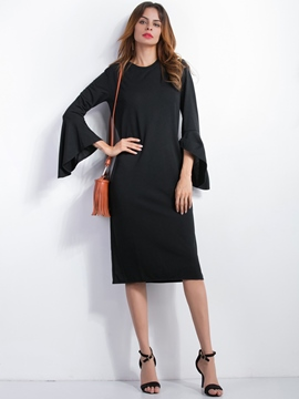 Ericdress Flare Sleeve Solid Color Knee-Length Casual Dress