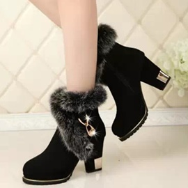 Ericdress Graceful Suede Furry Chunky Heel Boots