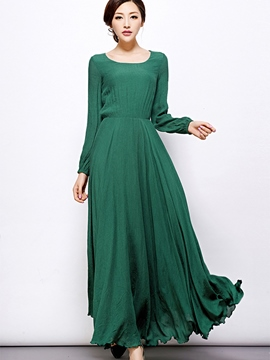 Ericdress Scoop Pleated Elastic High-Waist Maxi Dress