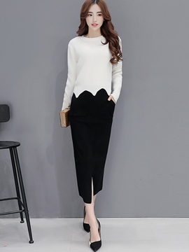 Ericdress Sweet Irregular Hem Knitwear Leisure Suit