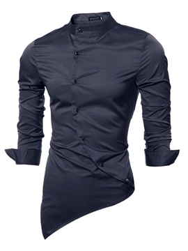 Ericdress Plain Stand Collar Asymmertric Long Sleeve Men's Shirt