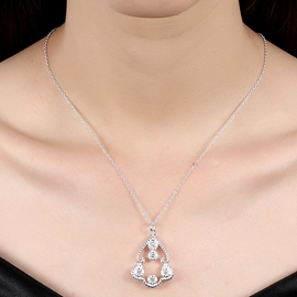 Ericdress Flower Shaped Diamante E-Plating Necklace