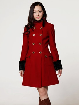 Ericdress Double-Breasted Color Block Coat