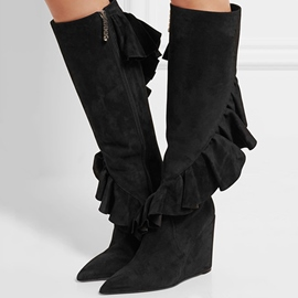 Ericdress Black Falbala Side Zipper Wedge Heel Knee High Boots