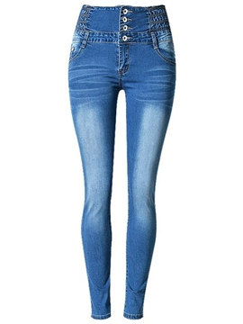 Ericdress Worn Skinny Single-Breasted Jeans