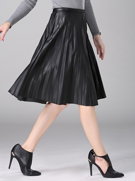 Ericdress Pleated PU Usual Skirt