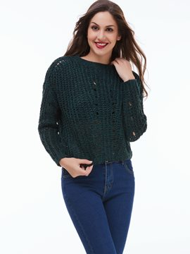 Ericdress Solid Color Pullover Knitwear