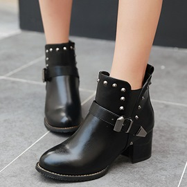 Ericdress PU Rivet&buckles Decorated Ankle Boots