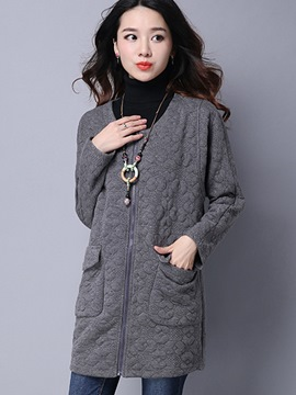 Ericdress Loose Solid Color Round Neck Trench Coat