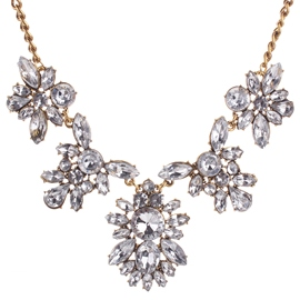 Ericdress White Rhinestone Flower Pendant Necklace