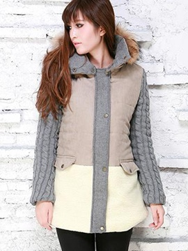 Ericdress Color Block Patchwork Cotton Coat