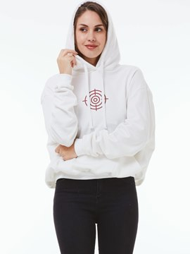 Ericdress Printed Solid Color Hoodie