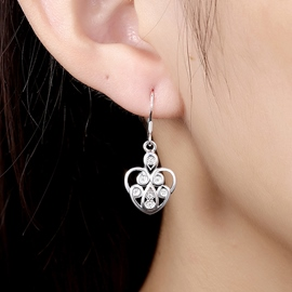 Ericdress Heart-Shaped Diamante Pendant Earrings