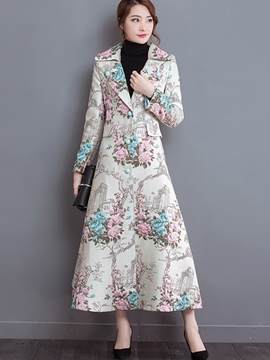 Ericdress Printed Slim Long Trench Coat