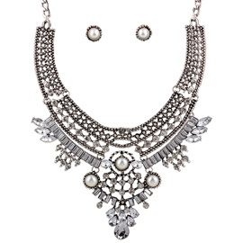 Ericdress Pearl Inlaid Antique Silver Jewelry Set
