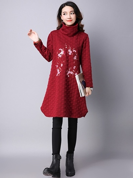 EricdressPeter Pan Collar Embroidery Loose Casual Dress