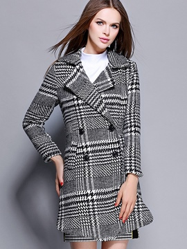 Ericdress Plaid Double-Breasted Slim Coat