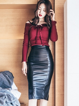 Ericdress Ladylike PU Bodycon Skirt Leisure Suit