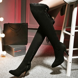 Ericdress Sexy Suede Lace Point Toe Knee High Boots