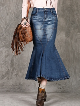 Ericdress Vintage Mermaid Denim Column Skirt