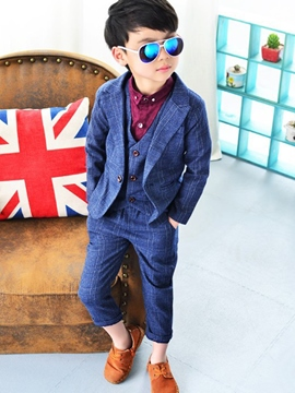 Ericdress Plaid 3 Piece Suit Vest Pants Set