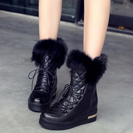 Ericdress Plaid Furry Ankle Boots