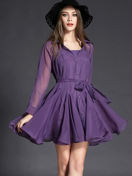 Ericdress Lapel Button Mesh Pleated Casual Dress