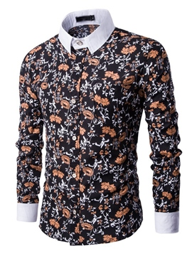 Ericdress Patchwork Floral Print Long Sleeve Men's Shirt
