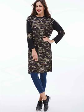 Ericdress Color Block Printed Long T-Shirt