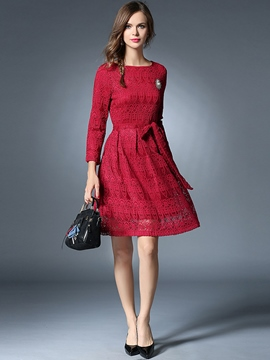 Ericdress Lace Hollow Belt Round Collar Lace Dress
