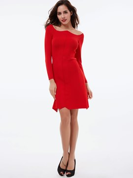Ericdress Asymmetric Neckless Knitting Bodycon Dress