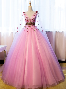 Ericdress V-Neck Long Sleeves Flowers Ball Gown Floor-Length Quinceanera Dress