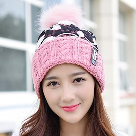 Ericdress Flowers Lace Patchwork Knitted Hat