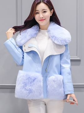 Ericdress Loose Turn-Down Faux Fur Patchwork Coat