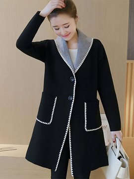 Ericdress Color Block Turn-Down Single-Breasted Coat