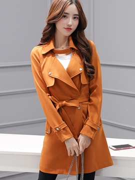 Ericdress Solid Color Slim Korean Trench Coat