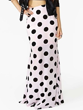 Ericdress Simple Polka Dots Maxi Skirt