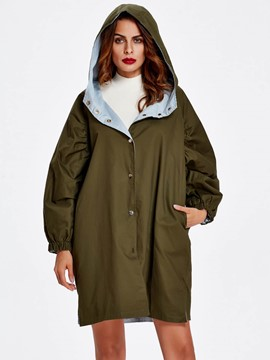 Ericdress Solid Color Loose Hooded Coat