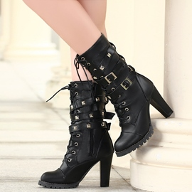 Ericdress Cool Rivets&buckles High Heel Boots