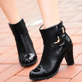 Ericdress Patchwork Chunky Heel Ankle Boots