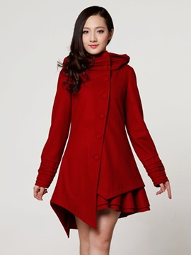 Ericdress Solid Color Single-Breasted Asymmetric Coat