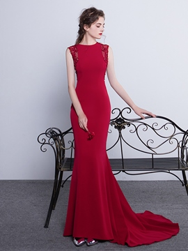 Ericdress Sheath/Column Court Train Lace Applique Beaded Evening Dress