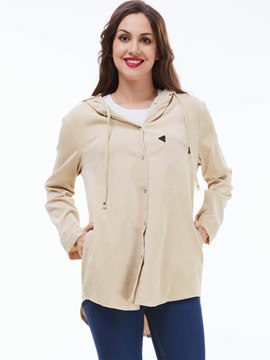 Ericdress Loose Solid Color Hoodie