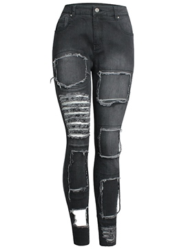 Ericdress Unique Ripped Patchwork Jeans