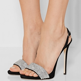 Ericdress Black Rhinestone Open Toe Stiletto Sandals