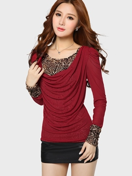 Ericdress Leopard Pleated T-Shirt