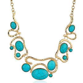 Ericdress Oval Turquoise Mosaic Statement Necklace