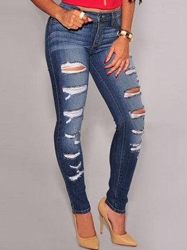Ericdress Skinny Solid Color Hole Jeans